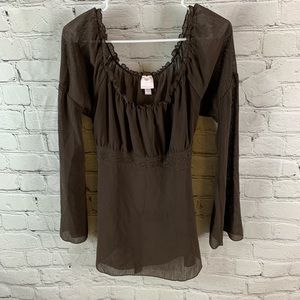 Chocolate brown long sleeve tunic with tie in back